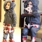 Kids Baby Boy Girl Warm Infant Romper Jumpsuit Bodysuit Hooded Clothes Outfits