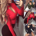 Womens Ladies High Neck Choker Keyhole V-Neck Bodysuit Long Sleeve Leotard Top