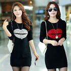 Fashion Women Bodycon Wool Warm Long Sleeve Lip T-Shirt Long Tops Mini Dress