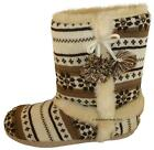 Ladies Girls Dunlop Farrah Faux Fur Lined Toggle Boot Slippers Brown Sizes 3 - 8