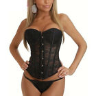 Vintage Black Womens Printed Flower Lace Corset Bustiers With G-string New 1Ef