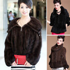 Women's Real Knitted Mink Fur Large Collar Coat Outwear Top Single Gift Jacket
