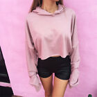 Retro pink women girl loose sports long sleeve crop top sweatshirt hoody hoodies