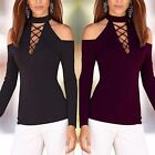 Women Blouse Lace-Up V Neck Fashion Casual Long Sleeve Off Shoulder T-Shirt Top