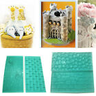 2*Stone Pebbles &Tree Bark Wall Metope Design Silicone Lace Molds Cake Decor