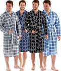 Mens Mock  Quilted Check Kimono Robe Summer Dressing Gown Blue Grey