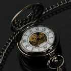 PACIFISTOR Mechanical Pocket Watch Retro Vintage Steampunk Black Stainless Steel