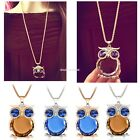 Women Owl Pendant Necklace Rhinestone Charming Animal Long Sweater EN24H