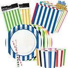 STRIPES Colours PARTY TABLEWARE Birthday/Events/Catering/Wedding/Occasion