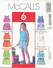 McCalls M4428 Girls Tops Skorts Shorts Sewing Pattern ~ Size 1 2 3