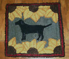 BLACK LAB WITH SUNFLOWERS Primitive Rug Hooking KIT or PATTERN on monks cloth