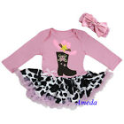 Baby Pink Cowgirl Boots Bodysuit Tutu Party Dress Romper Halloween Costume 0-18M
