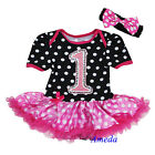 Baby Black Hot Pink Bling 1st Minnie Bodysuit Tutu Romper Birthday Party Dress