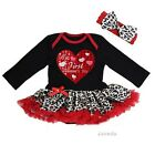 Baby My First Valentine's Day Heart Black Red Leopard Bodysuit Tutu Dress Outfit