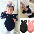 Newborn Baby Girls Solid Cotton Romper Bodysuit Infant Backless Clothes Outfits