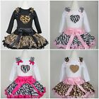 Zebra Leopard Pettiskirt Valentine's Day Pink Black Heart Shirt Party Dress 1-7Y