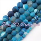 """Natural Agate Round Stripe Blue Frost Gemstone Beads Strand 15"""" 6,8,10,12,14mm"""