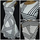 NEW MARKS & SPENCER M&S TEA DRESS BLACK IVORY ABSTRACT STRIPED PLUS SIZE 8 - 22