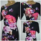 NEW M&S MARKS & SPENCER DRESS TUNIC SHIFT BLACK PINK  PURPLE FLORAL SIZE 6 - 20
