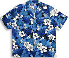 Blue Monstera Hibiscus men's vintage RJC aloha shirt made in Hawaii 107-3651