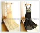 New Women Lace Chiffon Pleated One Piece Dress Full Length Beach Dress Sundress