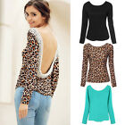 Women Backless Long Sleeve Lace Crochet Shirt Top Blouse Casual T-shirts Clothes