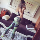WOMEN CAMO GREEN LEGGINGS TROUSERS PANTS SPORTS FOR TRAINING RUNNING GYM YOGA