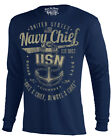 US Navy Long Sleeve Tee Blue One A Cheif T-Shirt S M L XL XXL