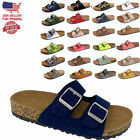 NEW Women's Slide Double Buckle Strap Cork Footbed Slide Flip Flop Shoes Sandals