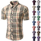 New Plaid Shirt Men Slim Fit Casual Short Sleeve Shirt Mens Dress Camisa Shirt
