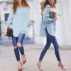 S M L XL Women Fashion Off Shoulder Long Sleeve T Shirt Casual Loose Tops Blouse