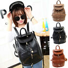 Womens Korean Style Casual Pure Color PU Leather Backpack Bookbags Shoulders Bag