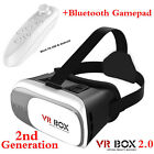 3D VR Box 2.0 BOX Virtual Reality  Goggles Glasses With Remote for Android iPhon