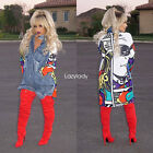 New fashion women long sleeve cartoon denim splice loose causal tops blouse