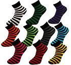 Ladies Striped Cotton Blend Womens Stripe Crew Ankle Socks One Size (UK 4-7)