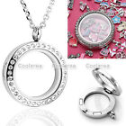 Living Memory Floating Charms Glass Crystal Round Locket Pendant Necklace Chain