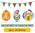 AGE 6 - Happy 6th Birthday Party Balloons, Banners & Decorations