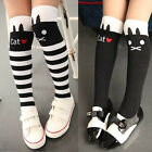 Kids Girls High Striped Over Knee Stockings Cat /Stripe Long Tube Socks 1-8Y New