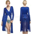 Women Long Sleeve Chiffon Patchwork Cross Bandage Long Cardigan EN24H