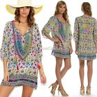 Women 3/4 Sleeve Sundress Casual Party Loose V-Neck Floral Sexy Chiffon Mini