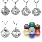 7pc Gemstone Chakra Sanskrit Locket Essential Oil Diffuser Pendant Necklace