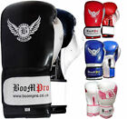 BooM Pro New Quality Blue & Silver Maya Leather Boxing Glove Sparring MMA Thai