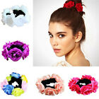 Fashion Women Flower Bun Garland Floral Head Knot Hair Band Elastic Bridal Top