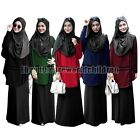 2PCS Sets New Fashion Muslim Women Long Sleeve Kaftan Abaya Islamic Clothing