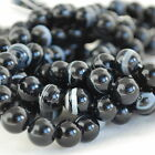 "Grade A Natural Banded Black Agate Gemstone Round Beads 4, 6, 8, 10mm -16""strand"