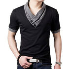 Men's Long Sleeve Tee Shirts V-neck Solid Slim Fit Muscle Casual T-Shirt Tops