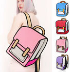 Women 3D Jump Style 2D Drawing From Cartoon Paper Comic Backpack Bag Satchel