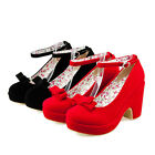 Stylish Sweet Womens Pump Ankle Strap Chunky Heel Round Toe Bowknot Party Shoes
