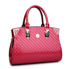 Women's Patent Leather Embossing Quilted Shoulder Bag Office Lady Handbag P417