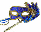 Floral Mardi Gras Mask w Stick Royal Blue Or Red Queens Court Ladies Mask 22777